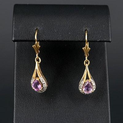 18K Yellow Gold Amethyst and Diamond Earrings