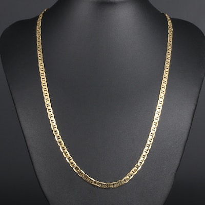 14K Yellow Gold Flat Anchor Chain Necklace