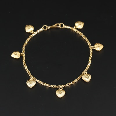 14K Yellow Gold Heart Bracelet with Diamond Cut Accents