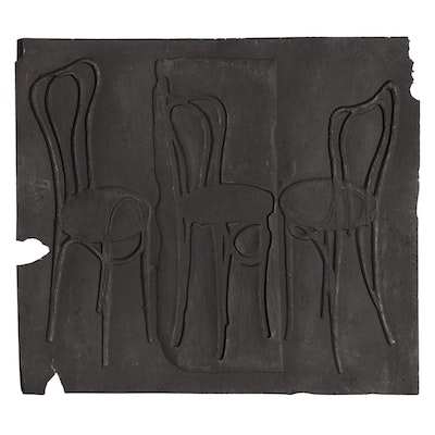 John Tuska Cast Paper Relief of Chairs