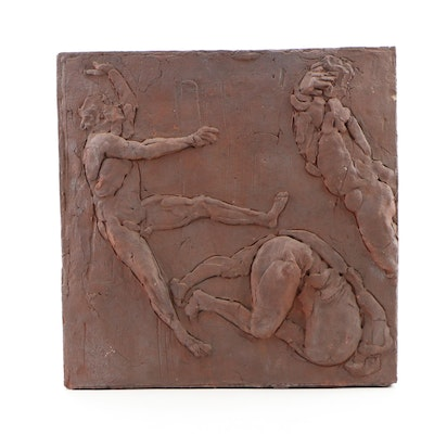 "John Tuska Stoneware Relief Sculpture from ""Icarus Series"""