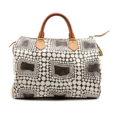 Louis Vuitton Limited Edition Yayoi Kusama Speedy Town 30 Bag in Monogram Canvas