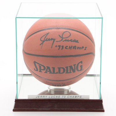 "Jerry Lucas ""73 Champs"" New York Nicks Signed Spalding Basketball"