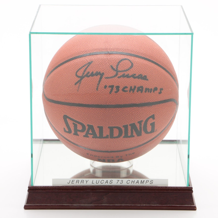 """Jerry Lucas """"73 Champs"""" New York Nicks Signed Spalding Basketball"""
