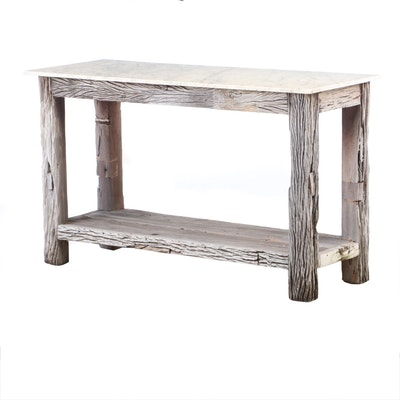 Rustic Style Marble Top and Reclaimed Wood Console Table, Contemporary