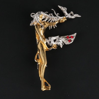 Sterling Silver and Faceted Glass Erte Brooch