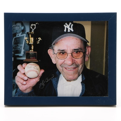 Yogi Berra New York Yankees Signed Baseball Photo Print, PSA/DNA COA