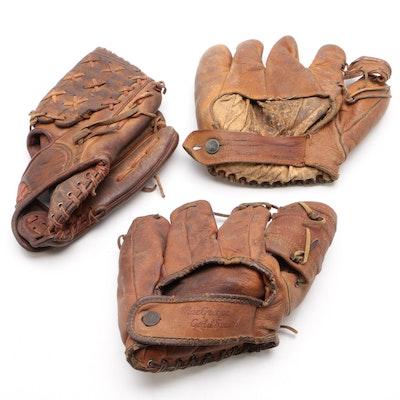 MacGregor Goldsmith and King Leather Baseball Gloves, Vintage