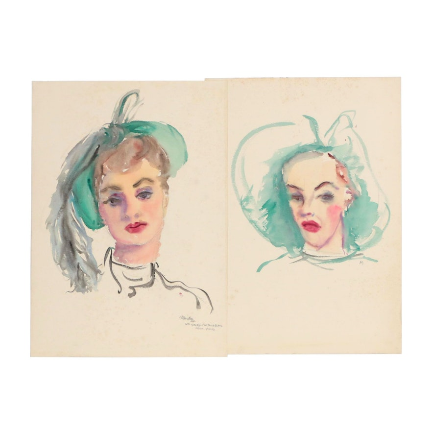 Watercolor Portrait Paintings, Mid 20th Century
