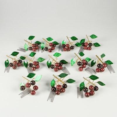 Dransfield & Ross Cherry Themed Enameled Napkin Rings