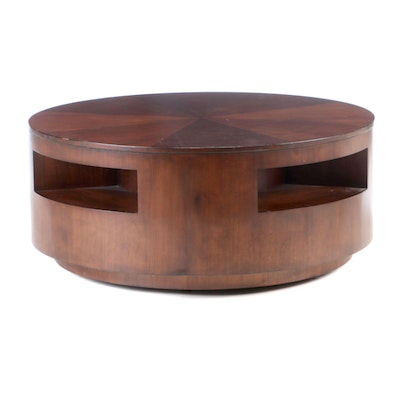 Round Walnut Coffee Table on Casters, Contemporary