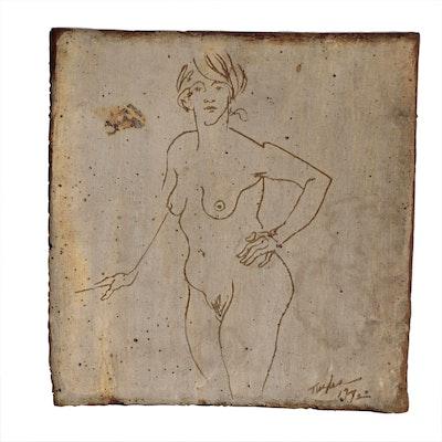 John Tuska Stoneware Plaque of Female Figure, 1972