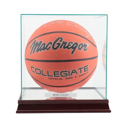 Bob Cousy Signed MacGregor Collegiate Basketball in Case