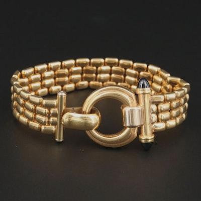 18K Yellow Gold Blue Sapphire Panther Link Bracelet