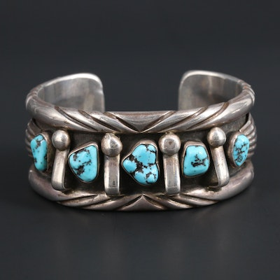 Signed Southwestern Style Sterling Silver and Turquoise Cuff Bracelet