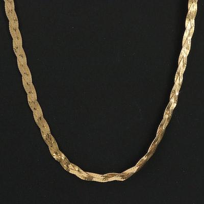 14K Yellow Gold Braided Herringbone Chain Necklace