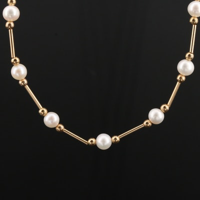 Mexican 14K Yellow Gold Cultured Pearl Necklace
