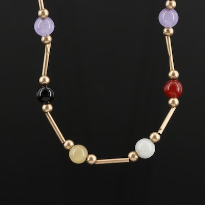 Mexican 14K Yellow Gold Beaded Jadeite and Black Onyx Necklace