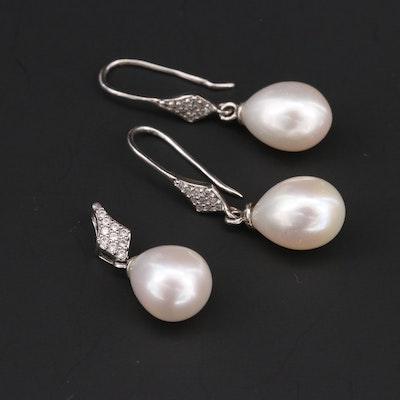 Sterling Silver Cultured Pearl and Diamond Drop Earring and Pendant Set