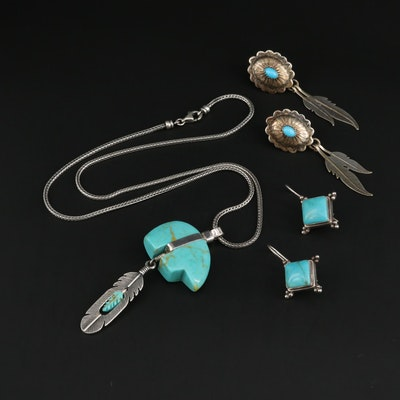 Southwestern Style Sterling Silver Imitation Turquoise Jewelry With Bear Pendant