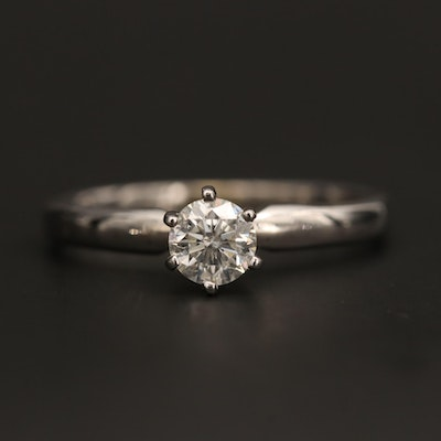 14K White Gold 0.43 CT Diamond Solitaire Ring