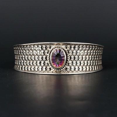 Sterling Silver Aqua Aura Quartz Cuff Bracelet
