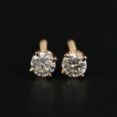 14K Yellow Gold 0.45 CTW Diamond Stud Earrings