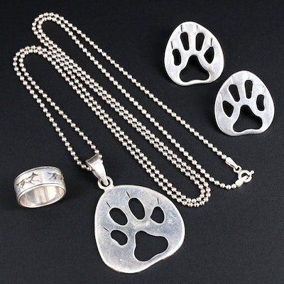 Sterling Silver Dog and Animal Themed Jewelry Featuring Paw Prints