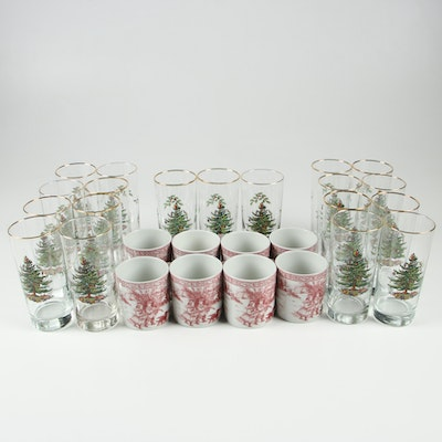 "Spode ""Christmas Tree"" Highball Glasses and Red Transferware Coffee Cups"