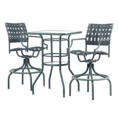 Patio Glass High-Top Pub Table and Metal Swivel Stools, Contemporary