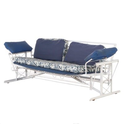 Vintage Cushioned Metal Patio Glider Bench, Mid-20th Century