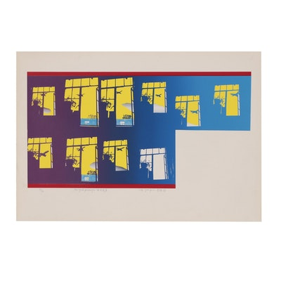 "Lee Quanpui Serigraph ""New York Passenger"", 1976"