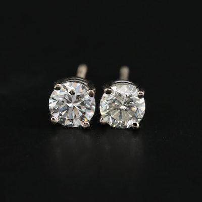 14K White Gold 0.79 CTW Diamond Stud Earrings
