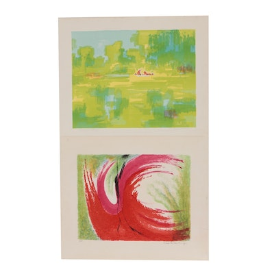 Abstract and Figural Landscape Color Lithographs
