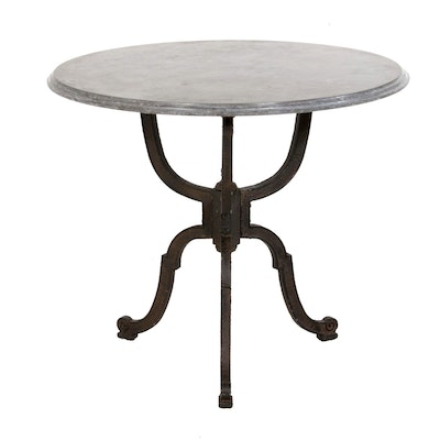 Marble Top Cast Iron Pedestal Table, Contemporary