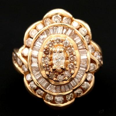 14K Yellow Gold 2.20 CTW Diamond Ring