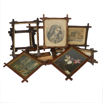 Adirondack Style Carved Wood Frames With Various Prints