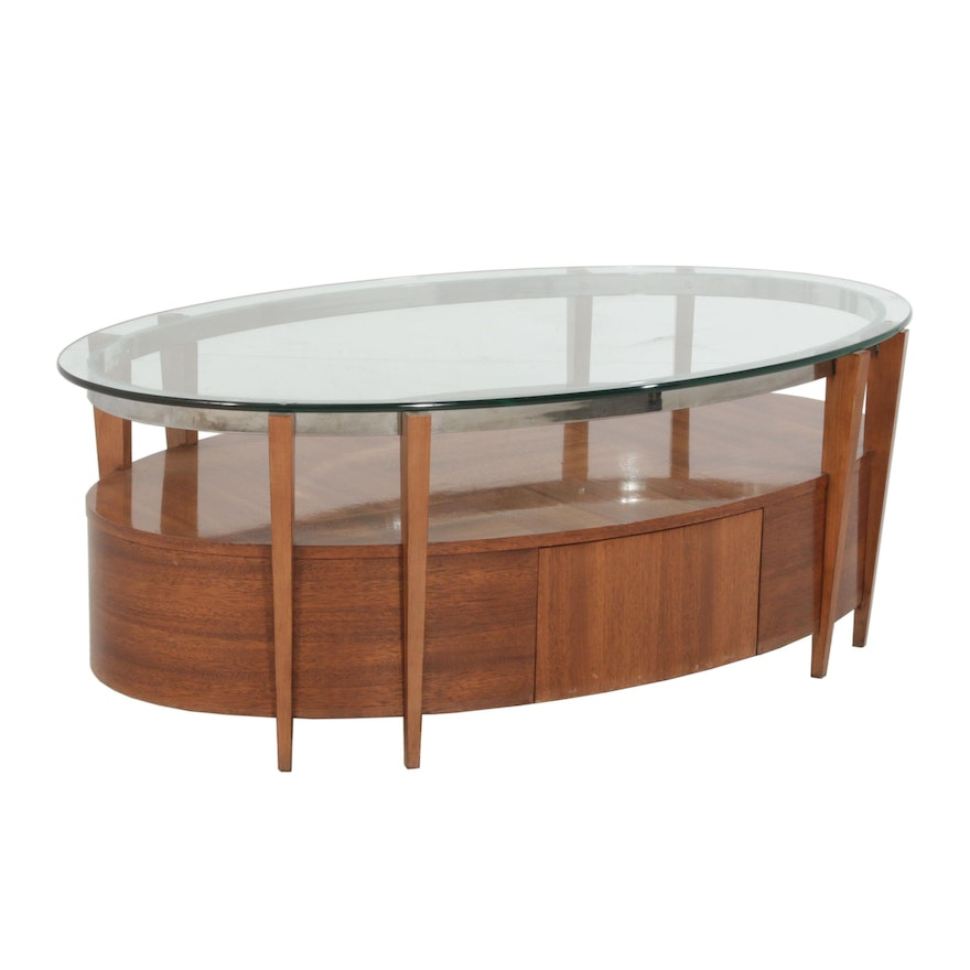 Hickory White Oval Coffee Table with Thick Glass Top, Mid-20th Century
