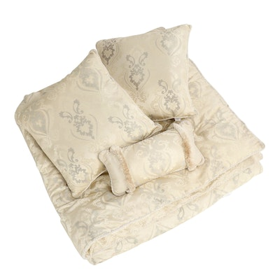 Waterford Linens Damask Queen Comforter with Euro Shams and Kidney Pillow