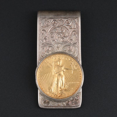 Sterling Silver Money Clip With 22K Yellow Gold Eagle Coin Accent