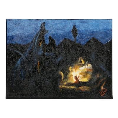 """Zofia Wilamowska Acrylic Painting """"Syrian Nativity"""""""
