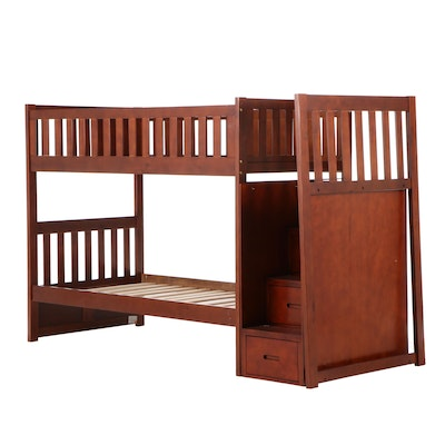 Home Elegance Cherry Finish Twin Bunk Bed Frame with Storage Drawer Steps