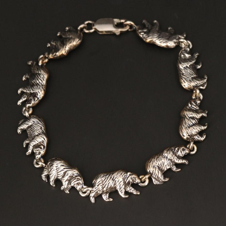 Kabana Sterling Silver Bear Bracelet