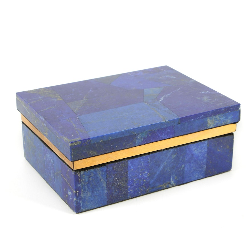 Handcrafted Lapis Lazuli and Brass Decorative Box