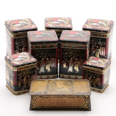 Chinoiserie Lithograph Tin Tea Canisters and Whitman's Faux Mosaic Chocolate Box