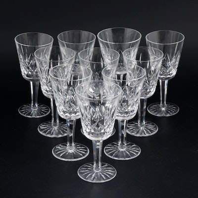 "Waterford Crystal ""Lismore"" Wine Glasses and Water Goblet, Late 20th Century"