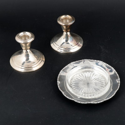 Gorham Sterling Silver Candle Holders and Sterling Silver Serving Tray