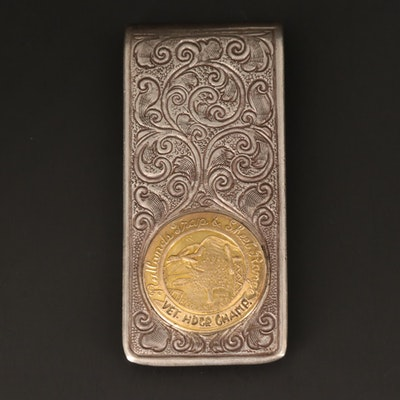 Mains Sterling Silver Scrollwork Money Clip