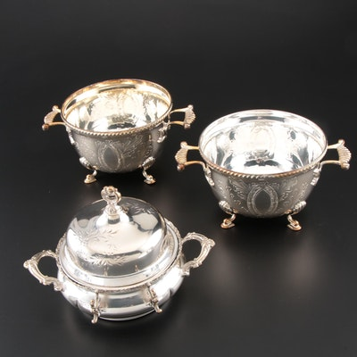 Forbes Silver Co. Silver Plate Butter Dish with Silver Plate Waste Bowls