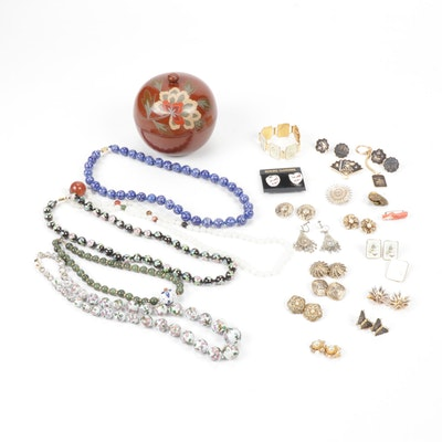 Vintage Coral and Damascene Jewelry with Porcelain and Cloisonné Bead Necklaces